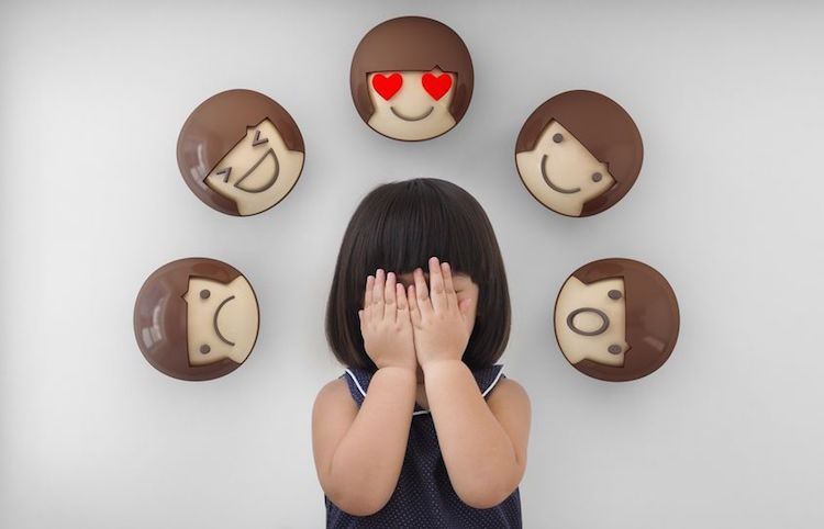 Asian child girl with white background, Feelings and emotions of kid