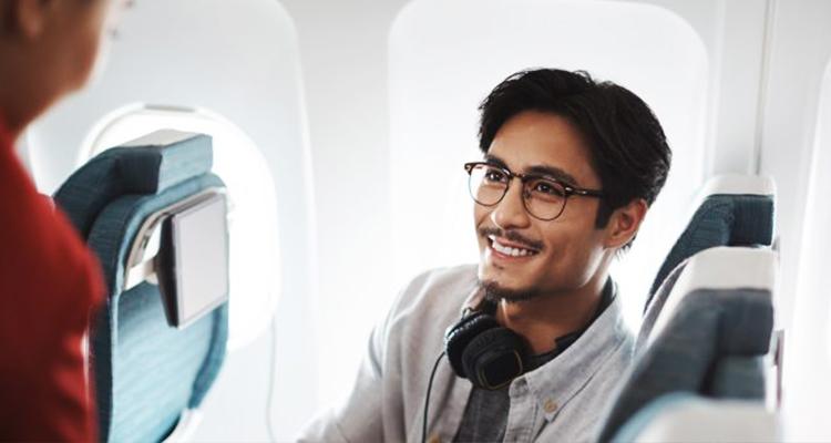 Passenger Talking to a flight attendant