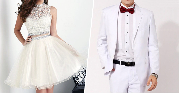 Classic white gown and tuxedo