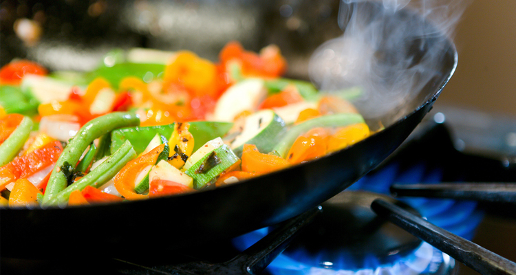 cooking using gas stove