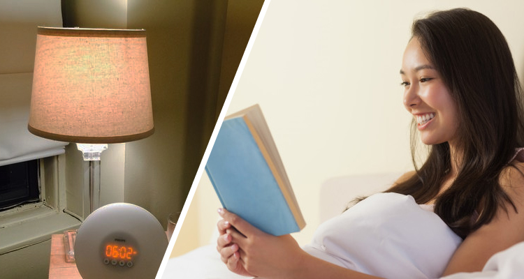 woman reading and bedside lamp