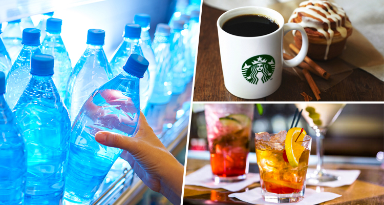 Drinks- Bottled water, coffee, alcohol