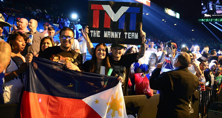 Filipino fans cheering on Pacquiao