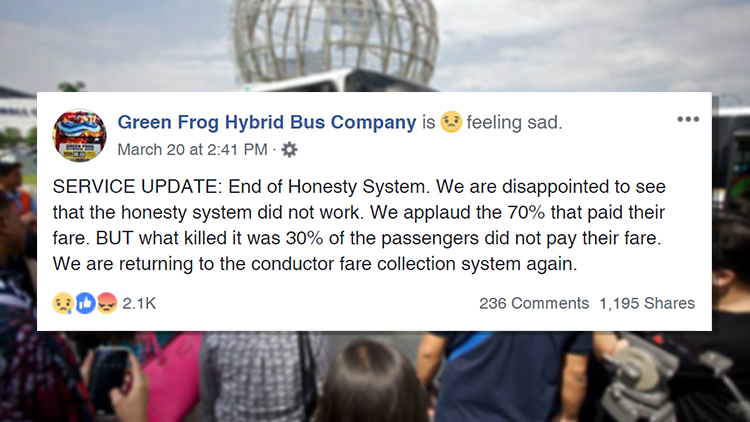 Green Frog Hybrid Bus Company Facebook post