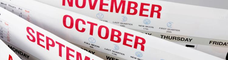 September, October, November, and December
