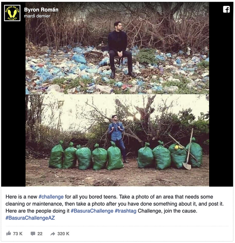 Byron Román facebook post about #trashtag
