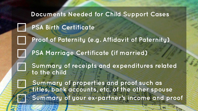 WHAT DOCUMENTS DO I NEED FOR A CHILD SUPPORT CASE