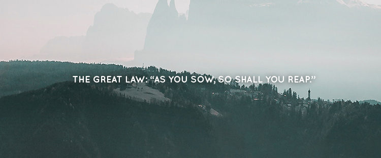 "THE GREAT LAW: ""AS YOU SOW, SO SHALL YOU REAP."""